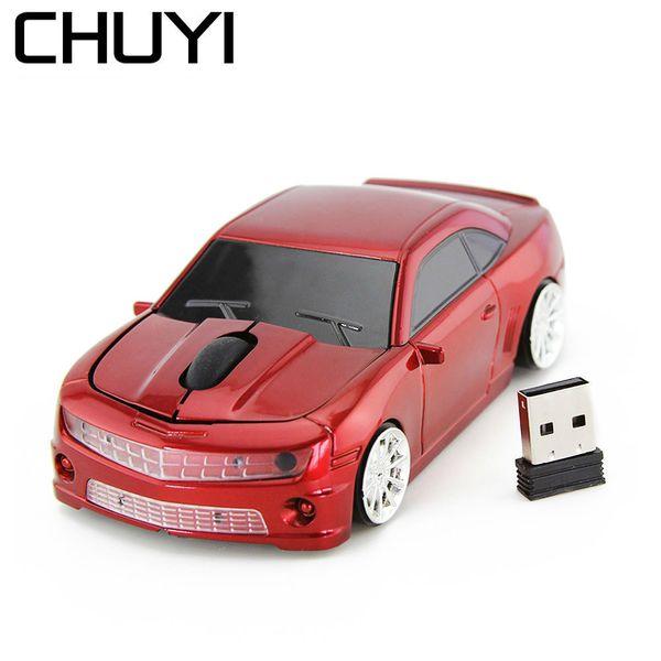 CHUYI Rato Sem Fio Legal Do Carro Do Esporte USB Optical Mice Gamer 1600 DPI Computador 3D Jogo Mause Amarelo Para O Menino PC Laptop Presente