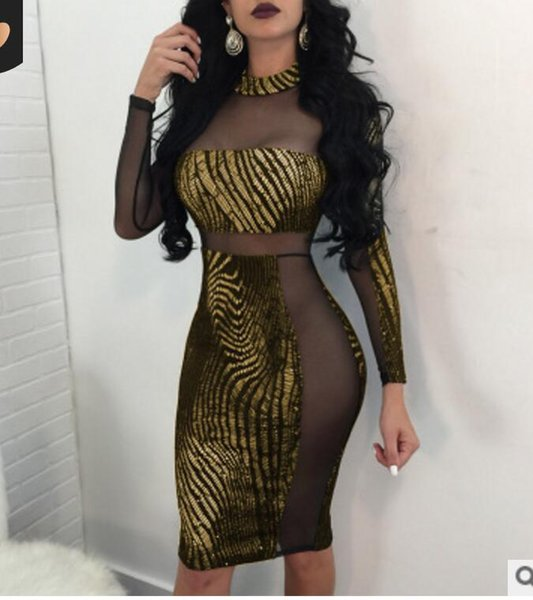 2019 new style short skirt Perspective Dresses in Woman's Gold-stamped Sexy Night Club party dance beach
