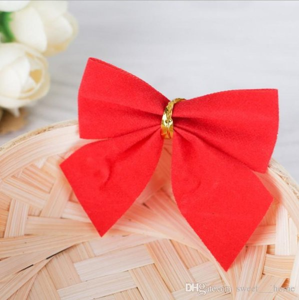 2017 New hot Christmas decorations Christmas tree hang decoration Small bowknot red gold and silver 12 dresses free shipping