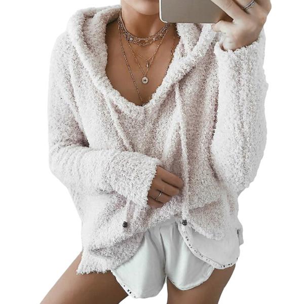 Yeni Kadın Kabarık Tiftik Hoodies Kış Bahar Sıcak Yumuşak Polar Gevşek Tişörtü Rahat İpli V Boyun Kazak Eşofman