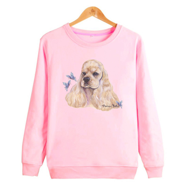 Hot Cocker Spaniel Print Hoodies Women Butterfly Pink Women's Clothing Survetement Homme Fashion Sweatshirt Women 4xl