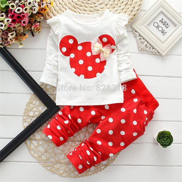 Baby Girl Clothes Spring Autumn Polka Dot Long Sleeved T-shirt Tops + Leggings 2PCS Infant Clothing Kids Bebes Jogging Suits Y18120801