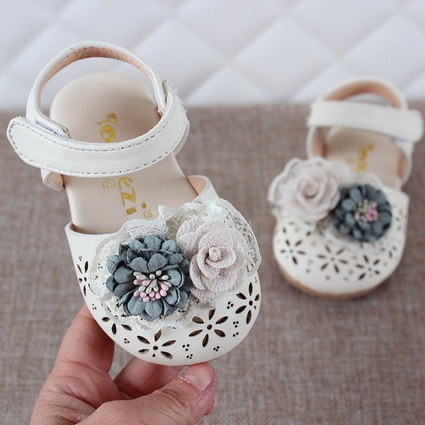 Premiers Marcheurs Pu En Cuir Bébé Fille 1-3 Ans 2019 Été Bébé Fille Fleur Sandales Chaussures Décontractées Plates En Cuir Doux Chaussures Rose