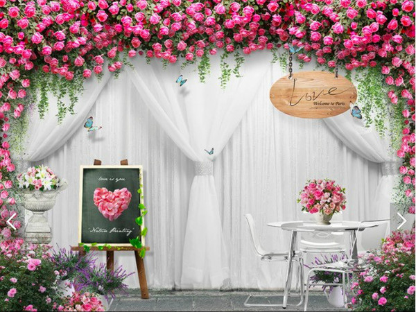 Wedding Rose Background Wallpaper For Hotel Wedding Studiophotography Studio Mural Wallpaper Wall Papers Home Decor Floral Wallpaper Widescreen
