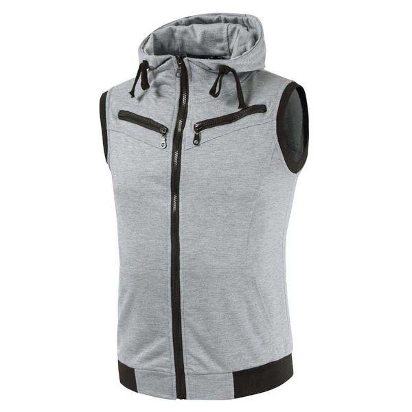 Fashion Vest Hooded Collar Waistcoat Men Vest with Multi Pocket Zipper Sleeveless Jacket Casual Slim Cotton Man Clothing