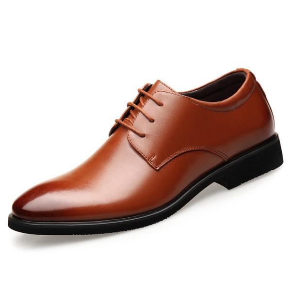 Hidden 6CM Men Formal Business Genuine Leather Men Dress Office Elevator Shoes Men Comfortable Gentleman Shoes Business Wedding Shoes