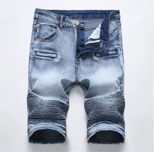 2019 High quality new Men Summer Retro Cargo Denim Shorts Male Patchwork Pockets Vintage Style Biker Short Jeans