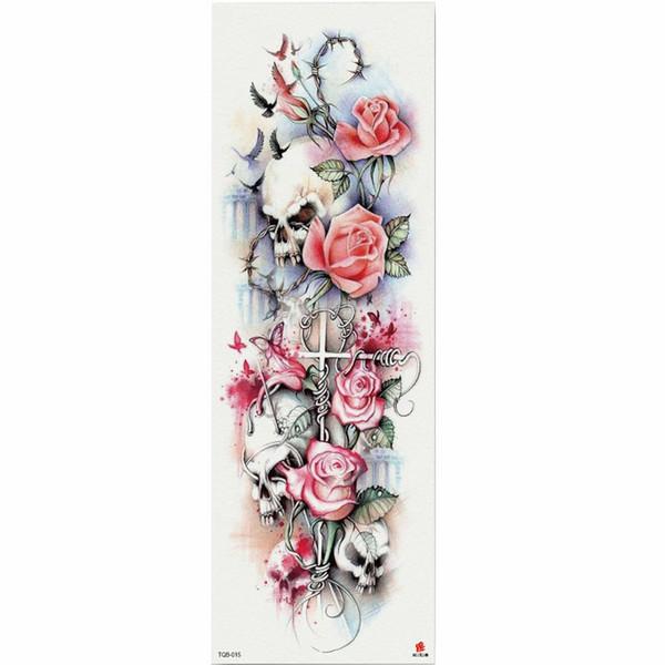 1 Stück Temporäre Tätowierung Aufkleber Kreuz Schädel Rosen Muster Volle Blume Tattoo Mit Arm Körperkunst Große Große Gefälschte Tätowierung