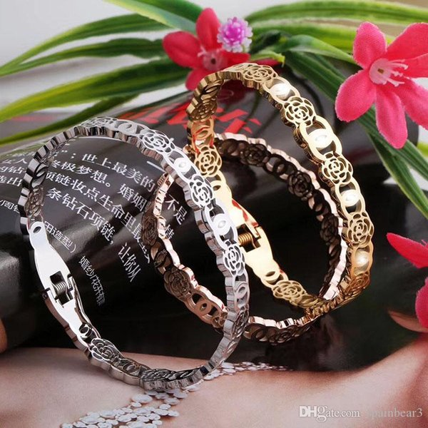 France Paris Brand Slap bangle Snap Brcelet stainless steel Bangle Silver Rose gold and Gold Black stylish titanium