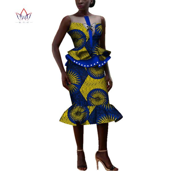 african dresses for women Dashiki o-neck skirt set sexy & club Bazin Riche africa print knee-length dress cotton 6xl BRW WY4037