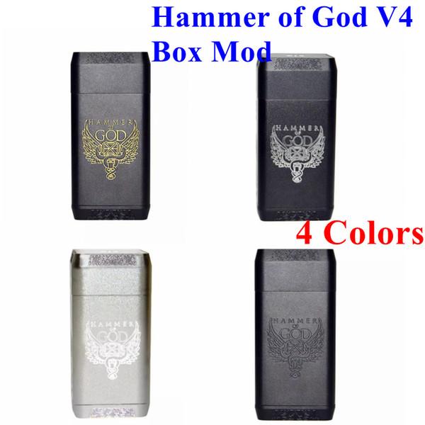 Hammer of God V4 Box Mod Cuerpo de aluminio cuadrado apto para 20700 21700 Batería 510 Atomizadores Vaporizador Hammer of God 4 Mod Alta calidad DHL gratis