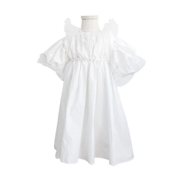 Pre-order 2019 Summer new kids dress INS girls falbala lapel flare sleeve princess dress children rhinestones beaded belt party dress F6218
