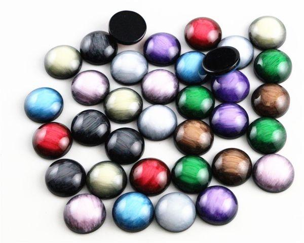 New Fashion 40pcs 12mm Mix Colori Camoscio Cabochons in resina stile piatto colore spazzolato
