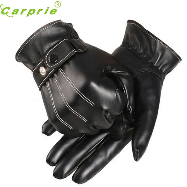 CARPRIE Super drop ship New Fashion Motorcycle Mens Lussuoso PU Leather Winter Super Driving Warm Gloves Cashmere xin1