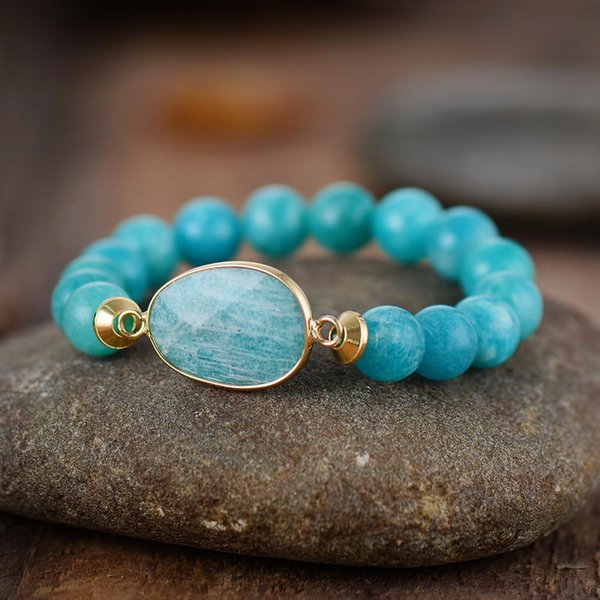 Premium Women Stretchy Bracelets 10MM Amazonite Charm Elastic Statement Bracelet Natural Stone Jewelry Wholesale