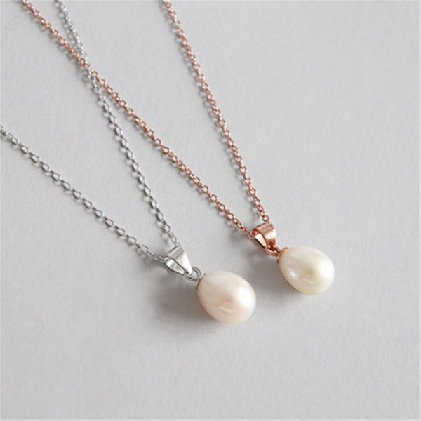 New Classic 7mm Natural Freshwater Pearl Necklace Women 925 Sterling Silver Chain Necklaces & Pendants Collier Wedding Jewelry