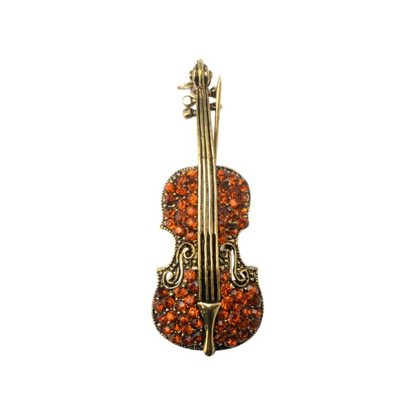Korean Version of High-quality Gold-plated Inlaid Drill Violin Fashion Brooch High-grade Design Temperament Personality Alloy Brooch