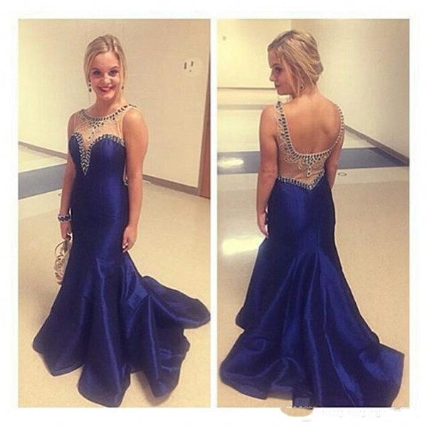 2019 Royal Blue Mermaid Prom Dress Beaded Formal Gown Beadings Evening Gowns Formal Gown For Senior Teens Open back Jewel Sheer Neck Straps