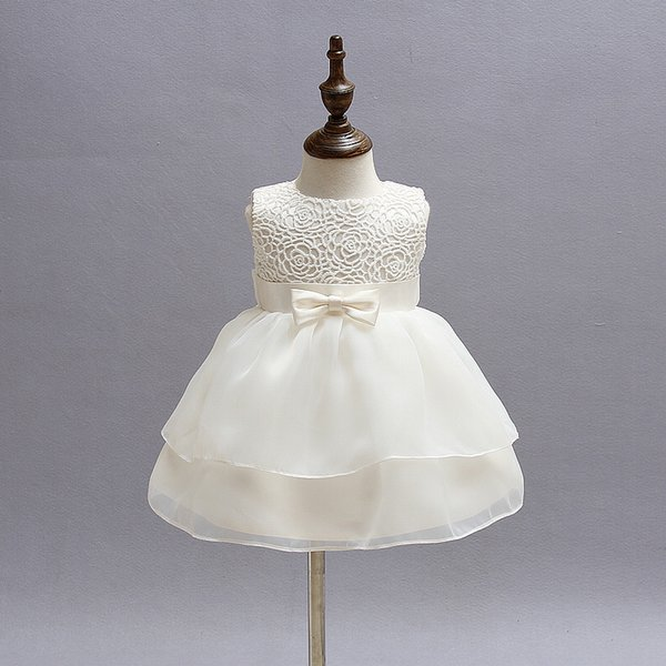 Newborn Girl Dress Beautiful Christening Gown White First Birthday Party Baby Chiffon Clothing Tutu Tulle Toddler Girl Clothes Y19050801