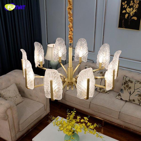 Fumat post-moderna di vetro glassato piuma lampadario di rame della lampada LED Soggiorno Oro Illuminazione 8 luci 10Light Camera apparecchio di illuminazione