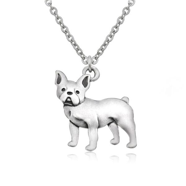 Retro boho französisch bulldog boston terrier hund charme anhänger choker halskette frauen lange kette für männer indien schmuck collier bijoux femme