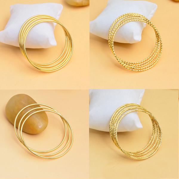 Imitation gold armband edlen schmuck nicht verblassen 18 Karat vergoldet armband mode matte welle armbänder