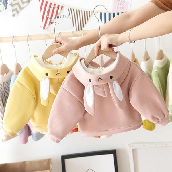 Mode hiver bébé fille en peluche enfants Sweat-shirt Top Sweat à capuche oreilles au chaud épais à capuche en laine pour les filles bébé Clothin