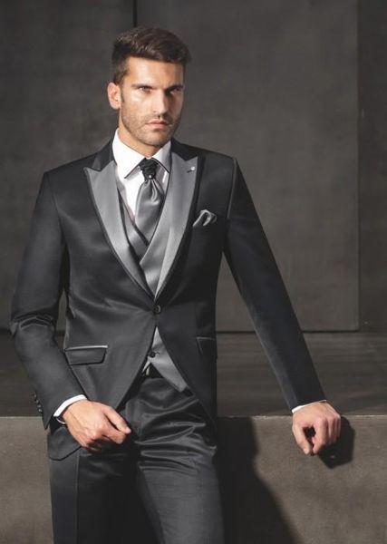 Popular One Button Groomsmen pico lapela do noivo smoking Homens Ternos de casamento / Prom melhor homem Blazer (Jacket + Calças + Vest + Tie) 606