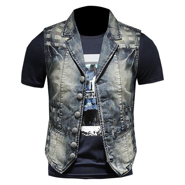 Uomo Slim Vintage Biker Motorcycle Denim Vest monopetto Turn Down collare ricamo Plaid Suit gilet di alta qualità