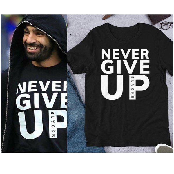 Mohamed Salah Never give up t shirt top tee shirts tshirt t-shirt men male/women new cool funny Casual summer clothes