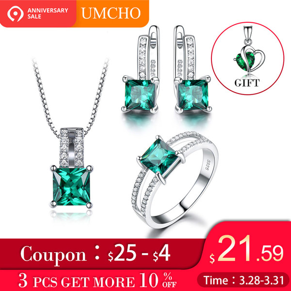 UMCHO Genuine 925 Sterling Silver Jewelry Sets for Women Gemstone Emerald Ring Pendant Stud Earrings Wedding Engagement Jewelry