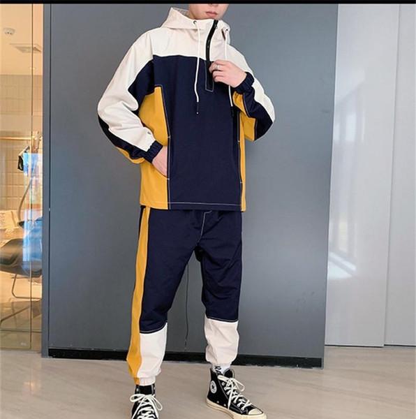 2019 Colores hombre del diseñador con paneles chándales sudaderas Pantalones Lápiz Moda para hombre 2 piezas Conjunto Pullover adapta a la chaqueta de deportes