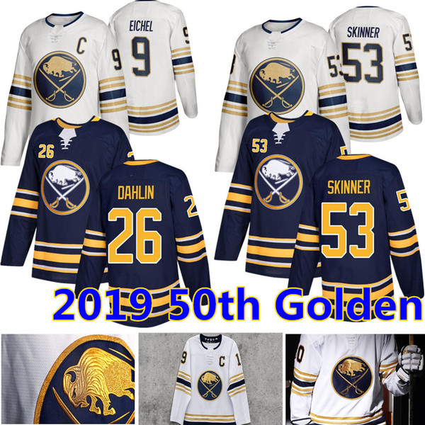 top popular 2019 New Buffalo Sabres 50th Golden Jersey 9 Jack Eichel 53 Jeff Skinner 26 Rasmus Dahlin Hockey Jerseys 2019