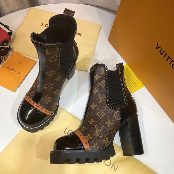 Últimas mujeres diseñador Martin botas Desert tacón grueso Bota impresión cuero Moda mujer zapatos tacones altos Botines Con caja original