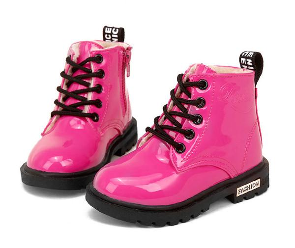 Çocuklar Martin Çizme PU Deri Su geçirmez Motosiklet Boots Kış Çocuk kar botları Marka Kızlar Prenses Ayakkabı