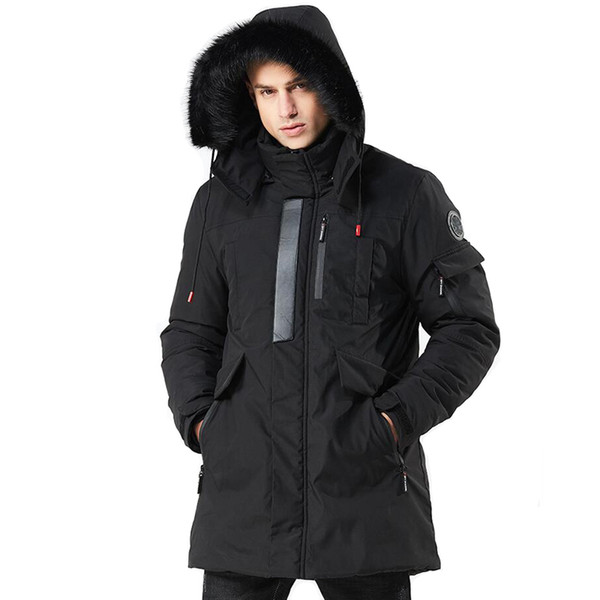 Winterjacke Männer 2019 Pelz Mit Kapuze Dicke Warme Lange Mantel Winterkleidung Herren Military Trenchcoats Parka Chaqueta Hombre Invierno