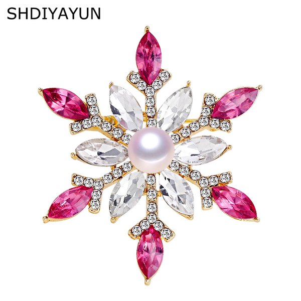 SHDIYAYUN 2019 Pearl Brooch Natural Freshwater Pearl Snowflake Brooch Simple Pins for Women Wedding Jewelry Women's Accessories