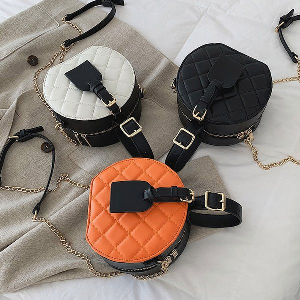 Plaid PU Leather Handles Violin Bag Korean Style Circle Metal Chain New 2019 Crossbody Bags Quality Fashion Handbags B341