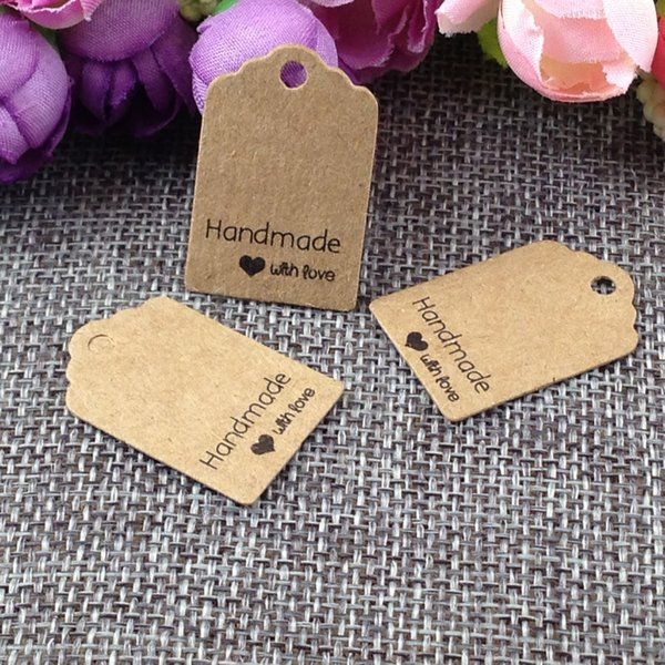 Size:3x2cm kraft tags 100PCS /lot hand made with love kraft Tag for gift box and Paper Cards DIY Gift Tags for Handmade cake free shipping
