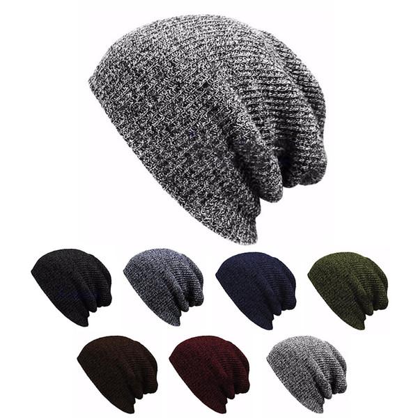 Hip Hop Knitted Hat Women's Winter Warm Casual Acrylic Slouchy Hat Crochet Ski Beanie Hat Female Soft Baggy Skullies Beanies Men