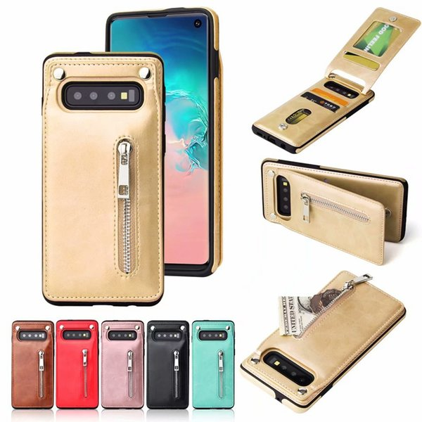 Card Pocket Wallet Leather Cases For Iphone XR XS MAX X 10 8 7 6 Galaxy S10 S10e Note9 Vertical Zipper Cash ID Slot Holder Phone Cover Flip