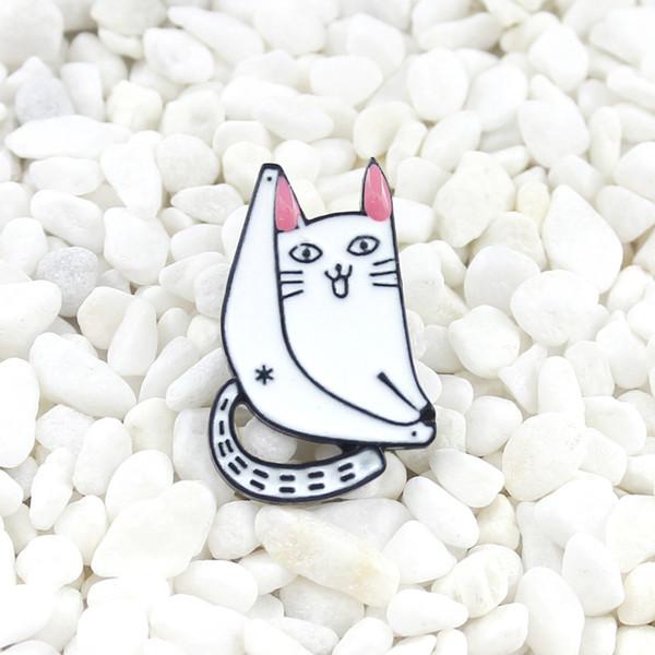 Cat forever enamel pin Cartoon white cat Lazy lying on the rocking chair Cute brooch Denim shirt lapel badge Children's gift