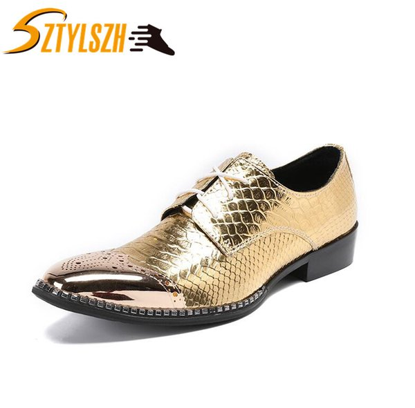 Männer Kleid Schuhe Mode-Stil Mann Schlangenhaut Echtes Leder Schuhe Soziale Sapato Männliche Oxfords Flache Arbeit Tanz Paty Hochzeit Schuh