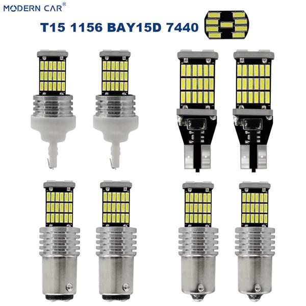 Современный автомобиль T15 T10 45 светодиодные лампы Canbus 4014 1156 7440 Bau15s BAY15D номерного знака Лампа Интерьер Карта парковки Зазор Light
