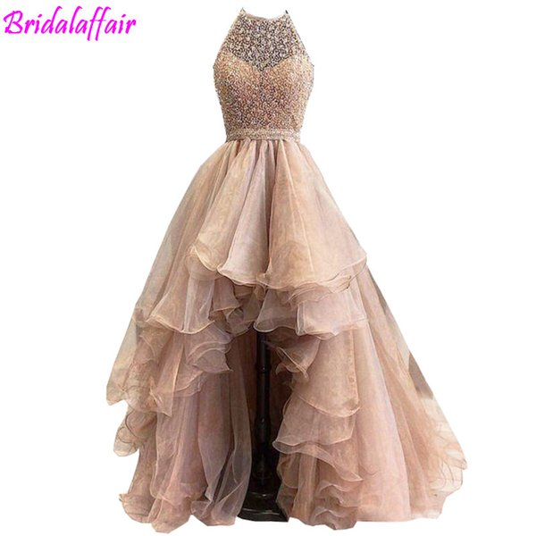 Rose Gold High Low 2017 A line Prom Dresses Lace Jewel Illusion Sweetheart Beaded sleeveless Tulle Tiered Skirts evening gowns