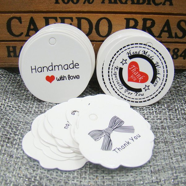 2000 pçs / lote branco feito à mão com tag amor papel obrigado etiqueta do presente tag para o casamento / doces / produtos do bebê produtos tag tag