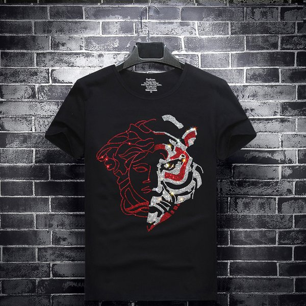 Luxury Fabric Men's T-shirt Medusa half face hot drilling T-shirt Quick-drying cotton t shirt new Large size compassion