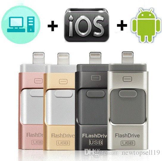 High quality USB Flash Drive For iPhone X/8/7/7 Plus/6/6s/5/SE/ipad OTG Pen Drive HD Memory Stick 8GB 16GB 32GB 64GB 128GB Pendrive usb 3.0