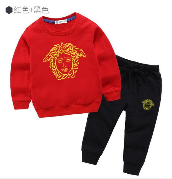 new children's cotton printed shirt fashion loose sports suit trend hoodie quality sweater baby clothes suit