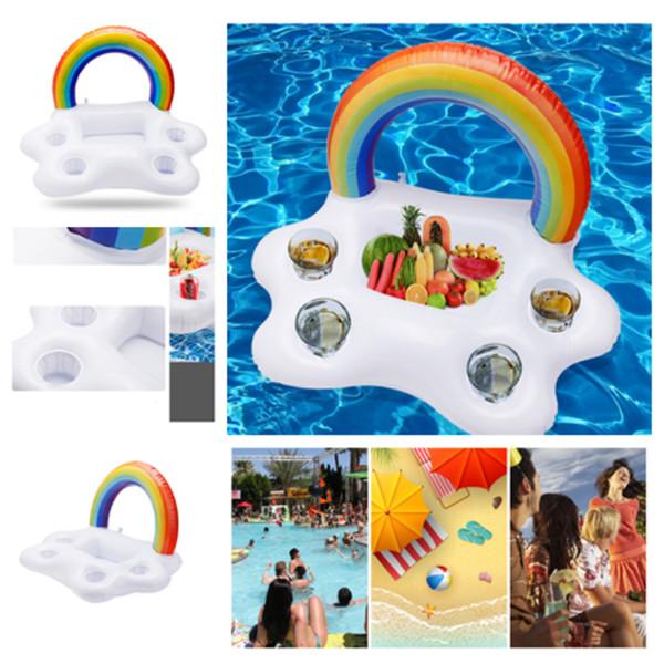 multi-funzione arcobaleno gonfiabile coppa arcobaleno tazza portabicchieri piscina galleggia piscina anello giocattoli spiaggia isola bere titolare T2I5203